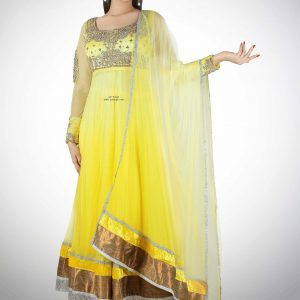 yellow-long-anarkali-with-silver-work