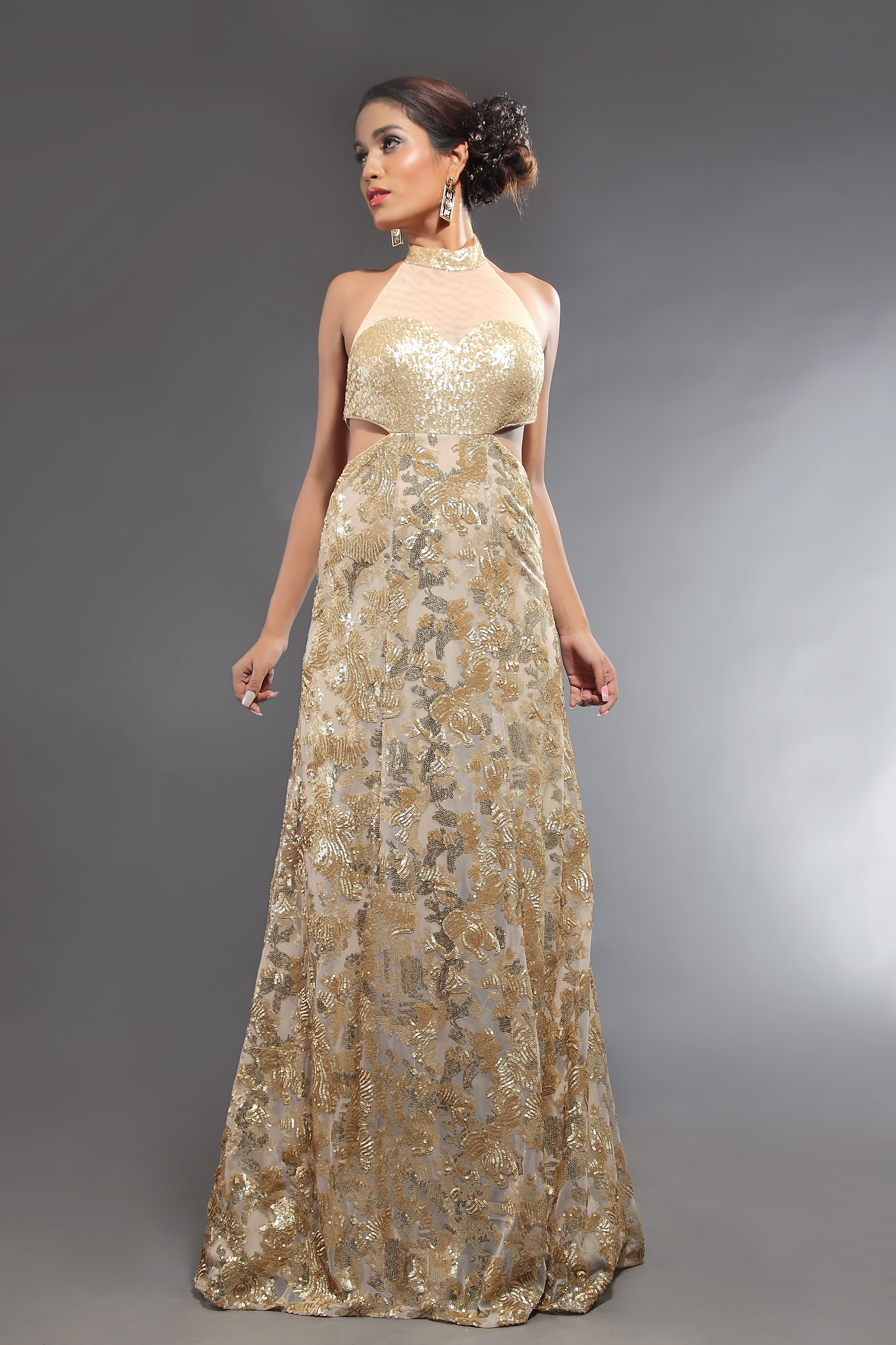 Buy Online Gold Backless cocktail dress 2015 - AD Singh