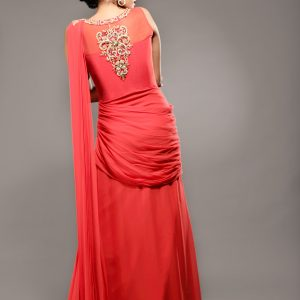 Designer_gown_saree_with_belt