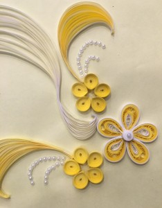 Quilling embroidery sample 1