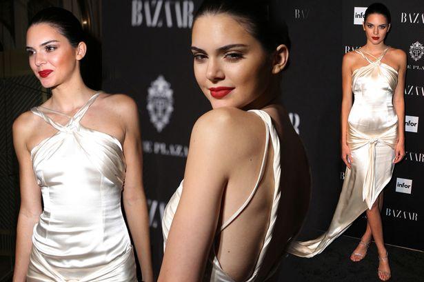 Kendall Jenner in Slinky Silk Dress